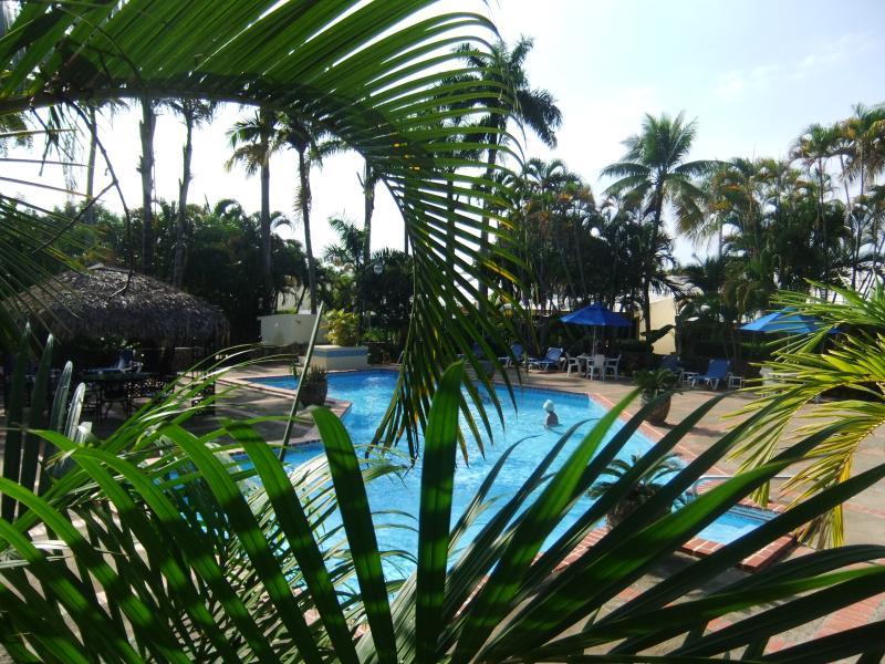Lush gardens surround the pool area