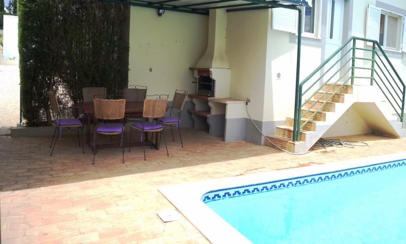 Shaded tiled BBQ area