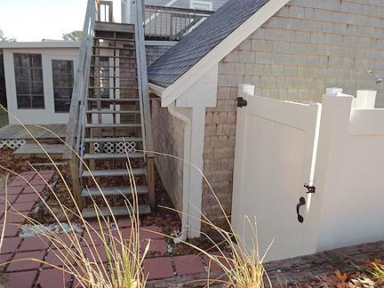 Outdoor Shower and Exterior Stairway to Rooftop Deck