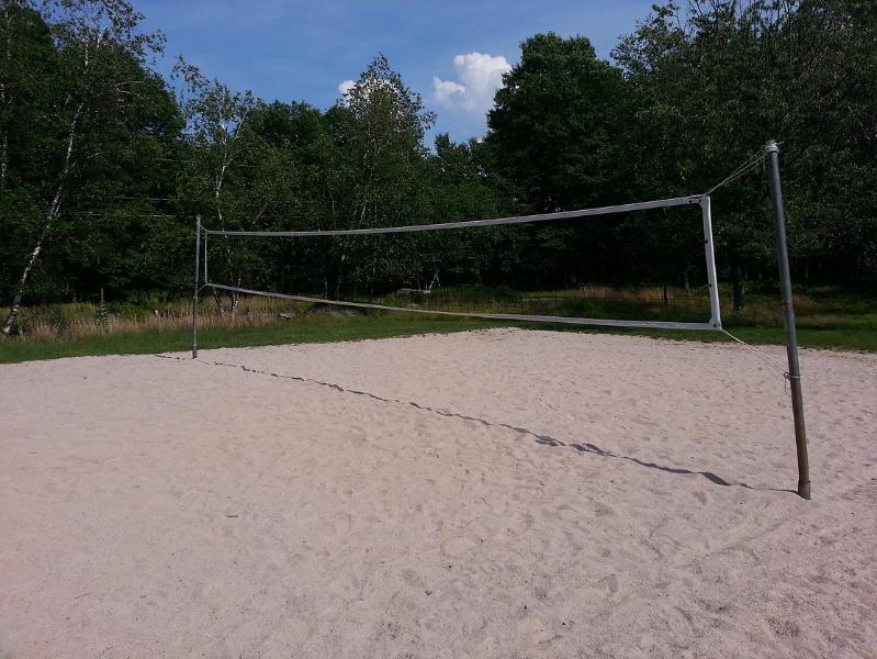 Volleyball court near the lake.