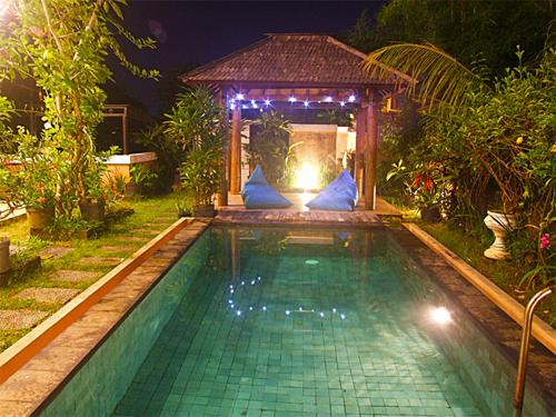 pool and garden at night