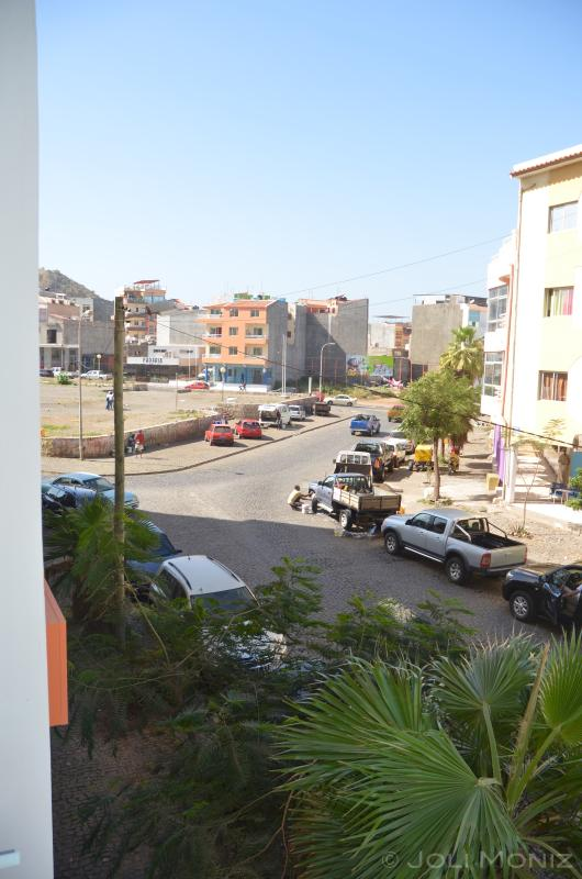 Palmarejo Square as seen from the front veranda.  Police station at the far end.