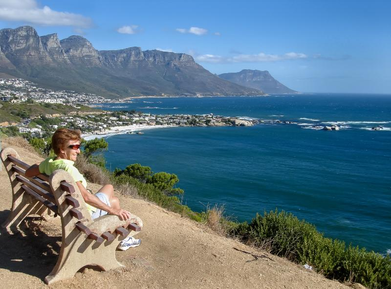 View of Clifton and Camps Bay from footpath above Sea Point