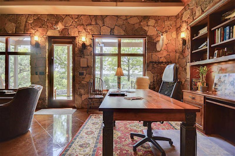 With available seating, this work station easily doubles for scenic downstairs dining