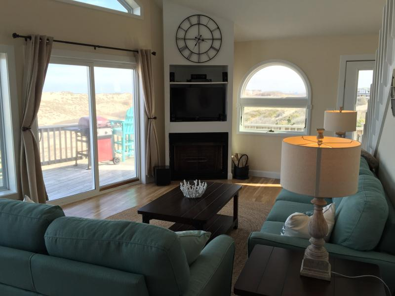 Third Floor Living Room with Deck, Dune and Ocean in the Background