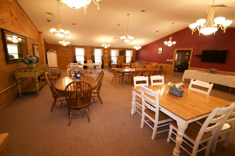 The 1200 sq ft dining room easily transforms into a meeting hall or quilting/scrapbooking workroom.