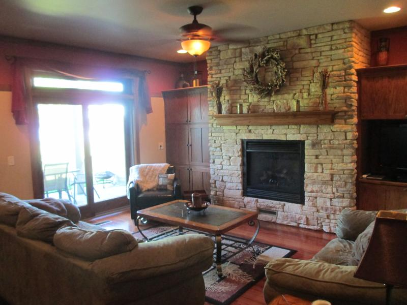 Family Room with Gas Fireplace, HD TV, Satellite & DVD