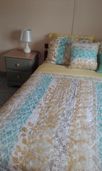 Cama de matrimonio en el dormitorio.