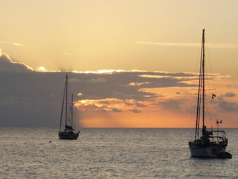 Sunset in the nearby Hatchet Bay. The safest harbor on earth!
