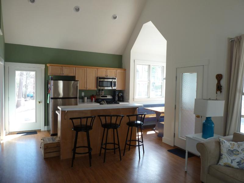 View from living room into kitchen/breakfast area
