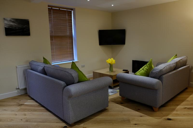 Spacious living area in the Bakehouse, Mid Wales Holiday Lets, Self Catering Apartments in Rhayader.