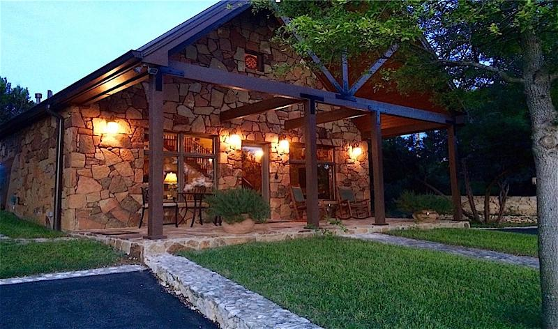 Cottage Exterior and Patio at dusk. Perfect for that evening glass of wine.
