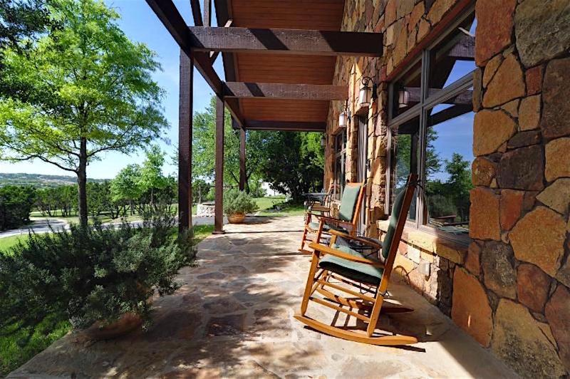 Looking north from the Storybook cottage patio over the Texas Hill country