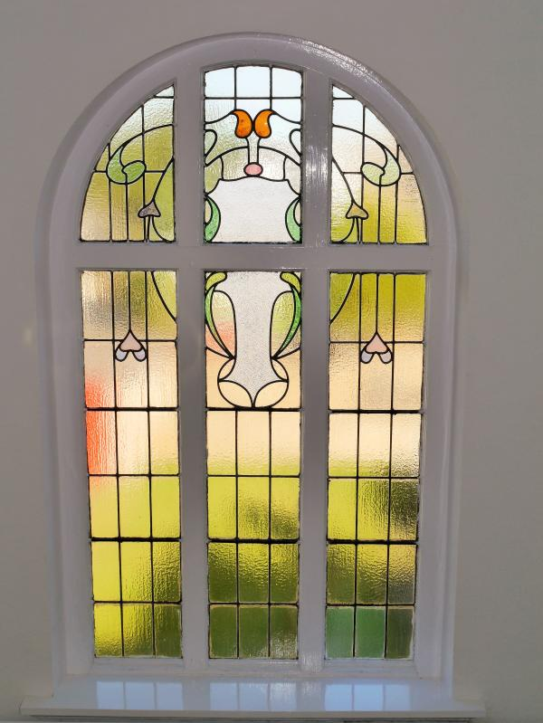 Traditional stained glass in entrance hallway