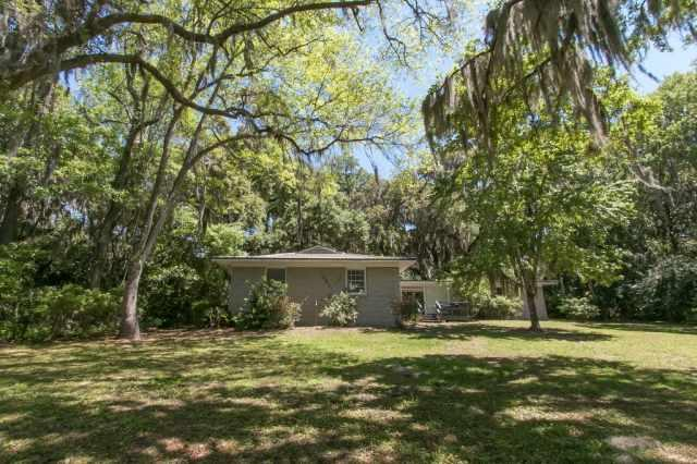 Large backyard with oaks dripping with Spanish moss