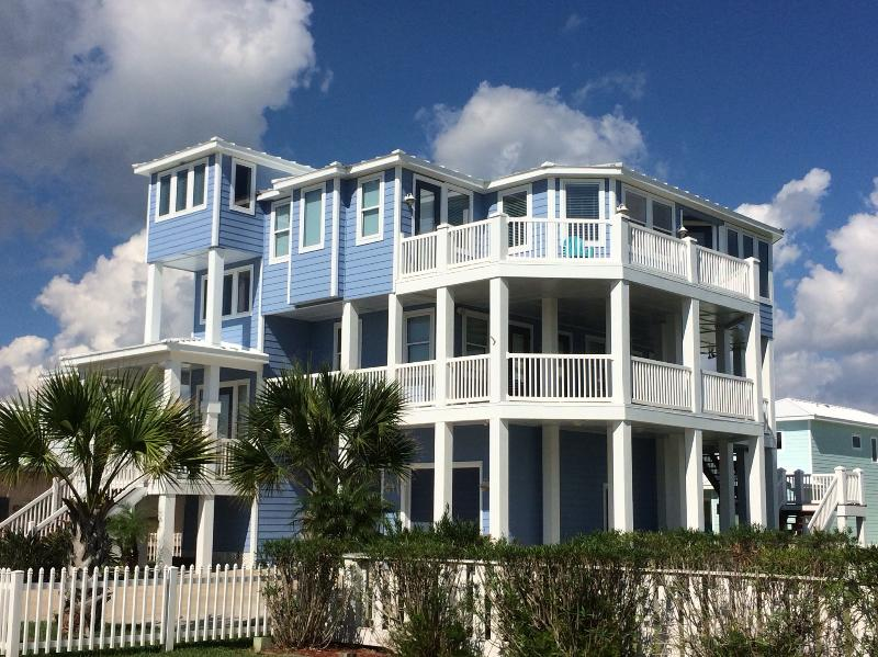Spacious open decks on every level.  Overlooking community and Gulf of Mexico