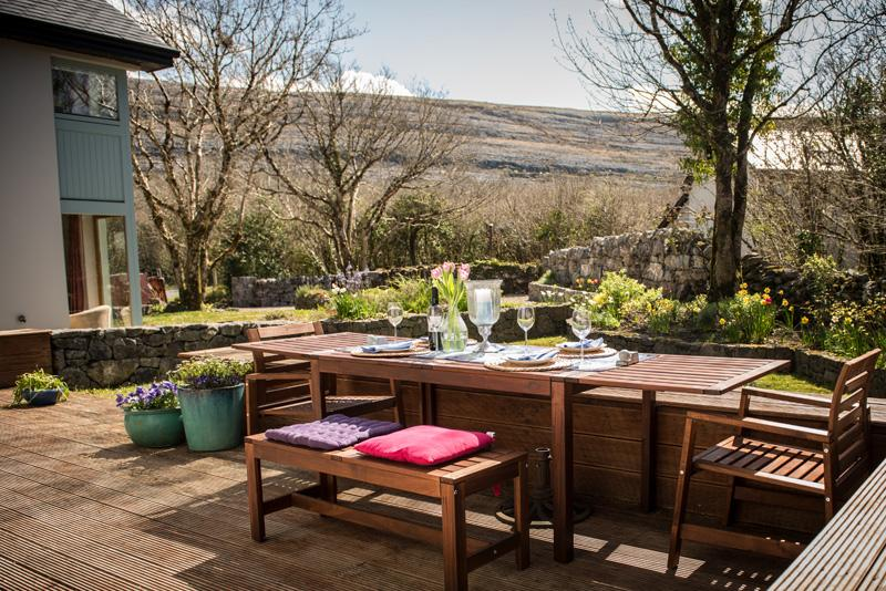 Our lovely sunny deck looking out on to the Aillwee Mountain