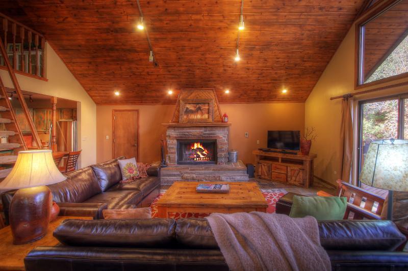 Acogedora sala de estar con chimenea de leña. Asientos para 7.