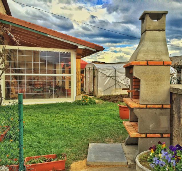Exterior con chimenea, jardín y porche