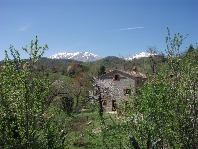 Casa di Pietra - in early spring with a dusting of snow still on the beautiful Sibillini Mountains