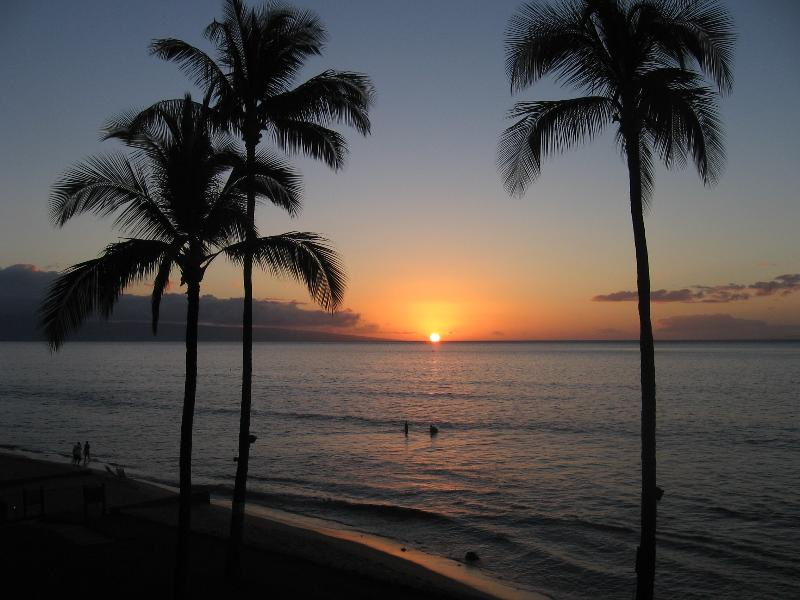 Papakea Oceanfront condo.  This is the view from our deck at sunset