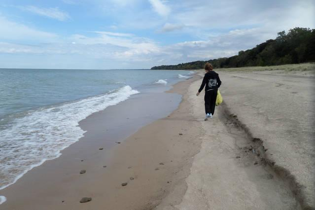 You can walk for miles collecting beach glass and artifacts of the great lake.