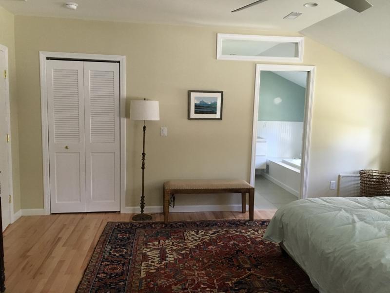 Master bedroom, view into master bath