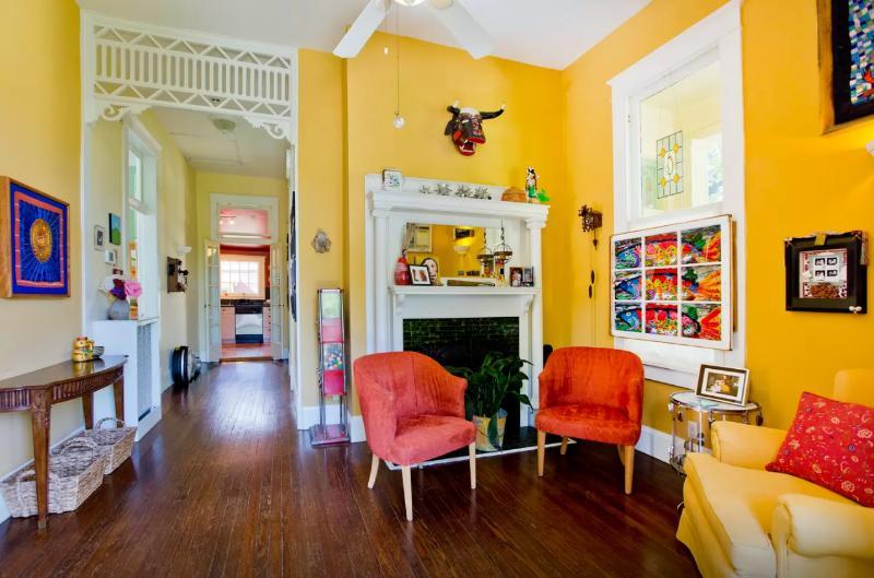 The front hall & reading room of main house (La Casa).