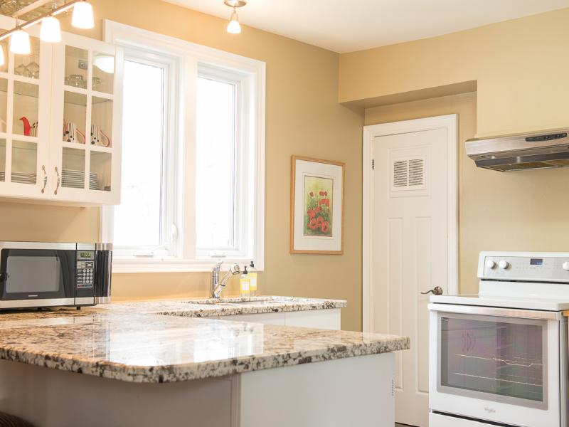 Full kitchen to save on the cost of dining. Enjoy your coffee at the breakfast bar or on the deck.