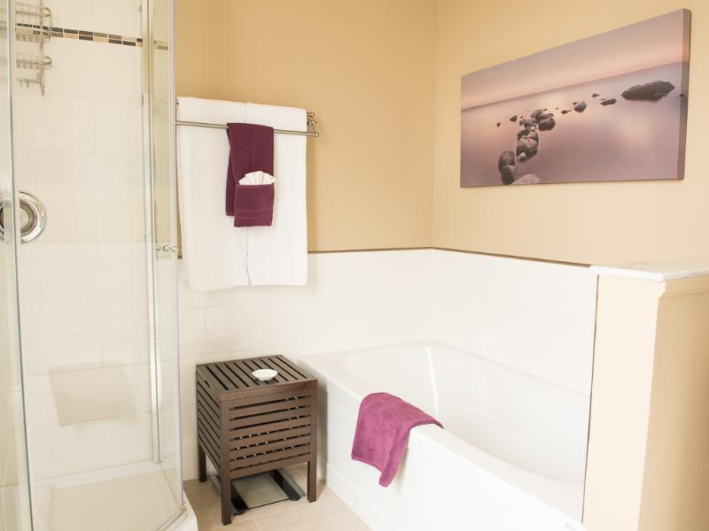 Master ensuite has a walk-in shower and deep soaker tub.