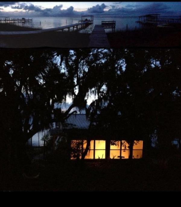 Bay Cabin at dusk.  Beautiful picture taken by a guest.