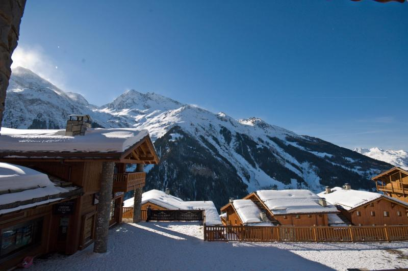 The balcony affords exceptional views from the resort centre, across to snow-capped mountains