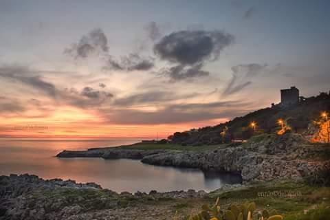 Tramonto da Torre dell'Alto, marina di Santa Caterina, Nardò, Lecce, Salento,Puglia, Italia