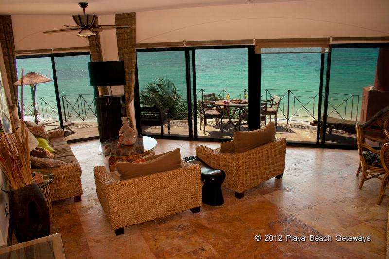 Floor to ceiling amazing views of the Caribbean