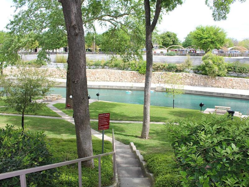 View from condo at the Spring fed Comal river and Schlitterbahn water park in the back ground