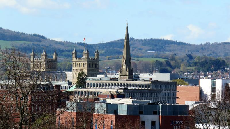 View of the city centre and cathedral from the roof of Clifton Court.