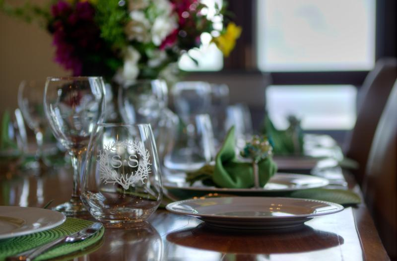 Sea Song branded dining ware and linens help accentuate your stay.