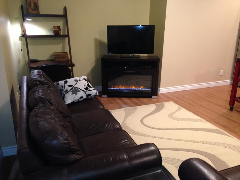 32' flat screen with satellite connection, Roku and  electric fireplace.