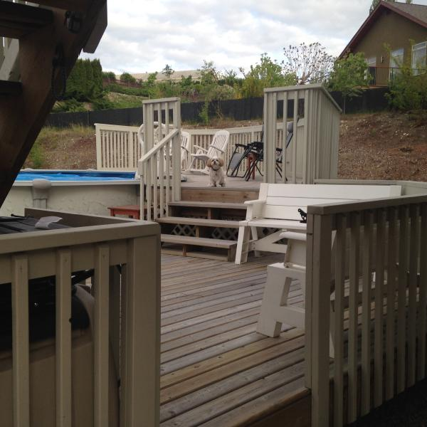 Elevated deck for poolside lounging with lockable gate.