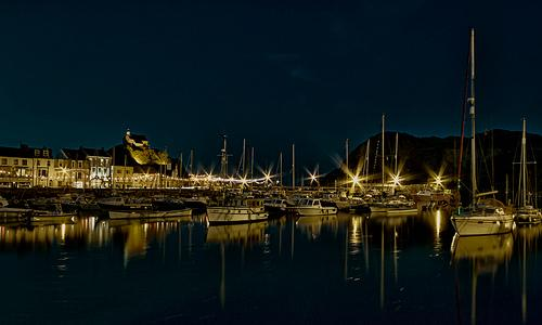 Harbour at night.