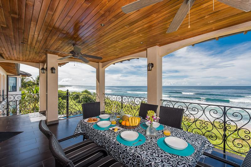 Breakfast or sunset dining on the ocean front balcony patio
