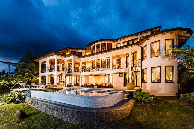 Evening sky lights up this luxury Villa at sunset