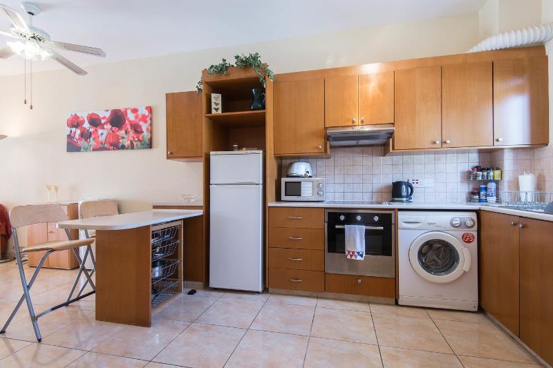 Kitchen: Well equipped kitchen with washing machine.