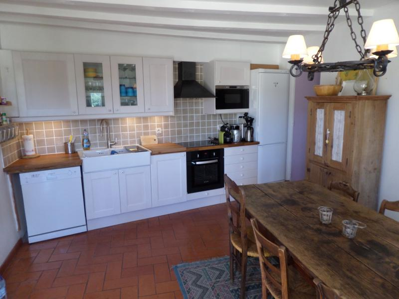 Kitchen with dishwasher - owner - freezer - microwave and a large dining table.