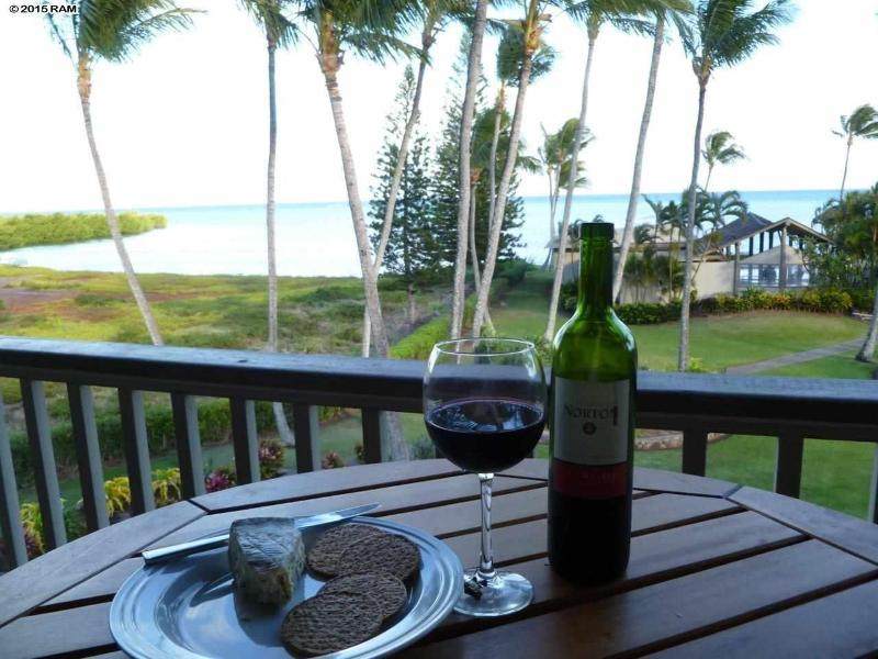 Dine on the lanai with tropical view