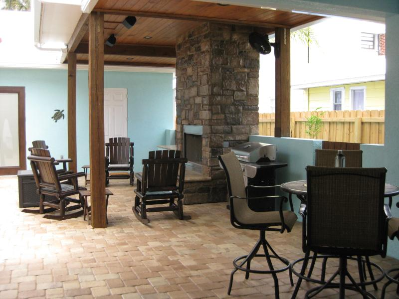 Outdoor fireplace in courtyard