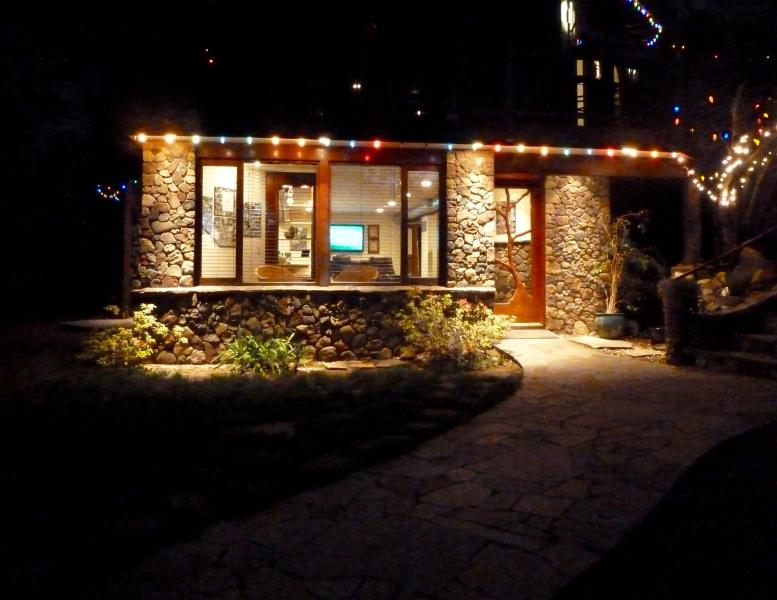 Outside entrance to your suite at night