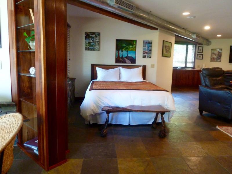 Queen bed in the suite