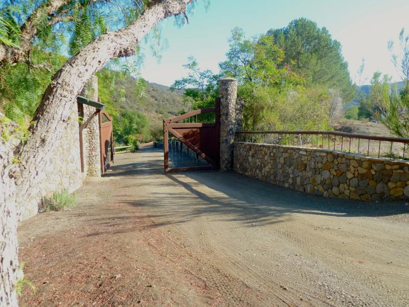 Front gates into property.