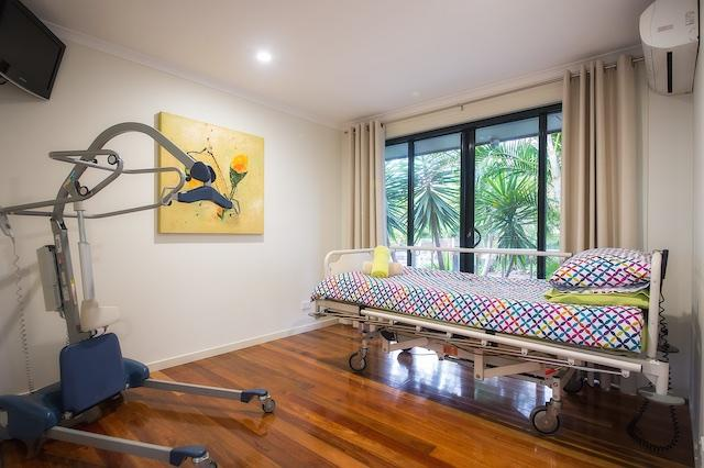 Accessible room, hospital bed and transfer hoist, LCD TV, air conditioned and heating standard.
